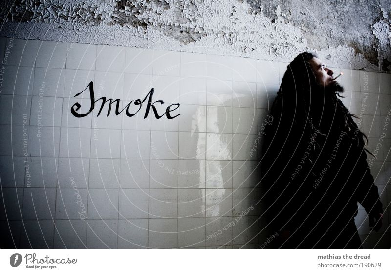smoke Illness Smoking Intoxicant Masculine Young man Youth (Young adults) 18 - 30 years Adults Ruin Manmade structures Building Wall (barrier) Wall (building)