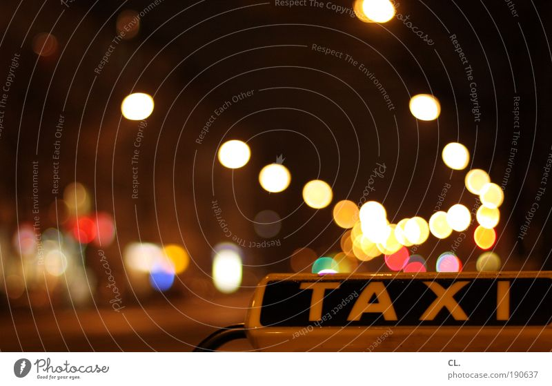 night taxi Night life Transport Means of transport Passenger traffic Road traffic Motoring Street Traffic light Vehicle Car Taxi Driving Multicoloured Mobility