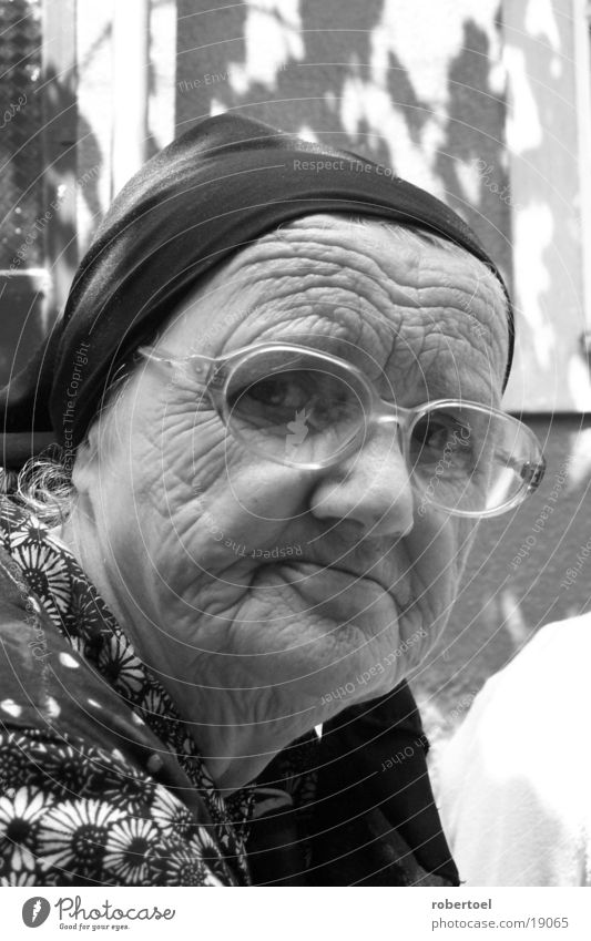old lady Woman 1 Old in black and white!