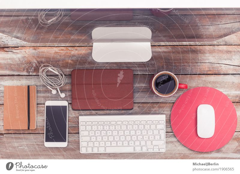 Old Wood Work and employment Office Table Computer Coffee Telephone Write Internet Desk Cup Headphones Interlaced Screen Piece of paper