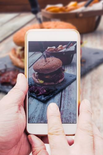 Old Hand Wood Food Fresh Table Photography Telephone Delicious Network Internet Cellphone Bread Meat Online Partially visible