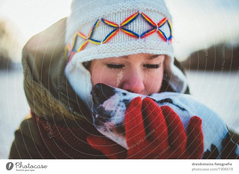Unconditional love. Lifestyle Feminine Woman Adults Winter Beautiful weather Animal Pet Dog Touch Communicate Kissing Dream Embrace Friendliness Together Happy