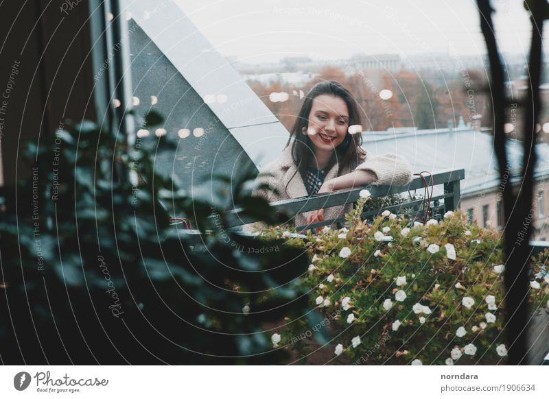 happy time Human being Feminine Young woman Youth (Young adults) Plant Flower Blossom Balcony Terrace Roof Emotions Happy Happiness Smiling Panorama (View)
