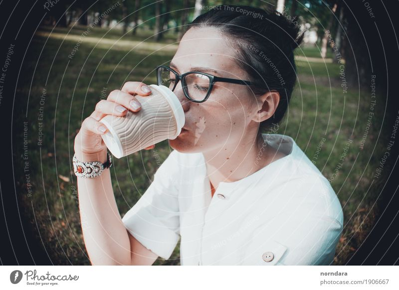 coffee time Coffee Cup Drinking Beverage Tea Disposable bottle student Woman Casual clothes Park Summer Vacation & Travel Break Brunette Eyeglasses Shirt