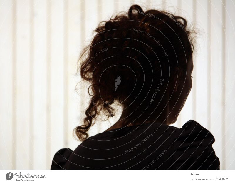 hollowed Woman Feminine Silhouette Shadow Hair and hairstyles Half-profile Interior shot Stripe Curl Head Face Dark Bright Contrast Side Go under Looking