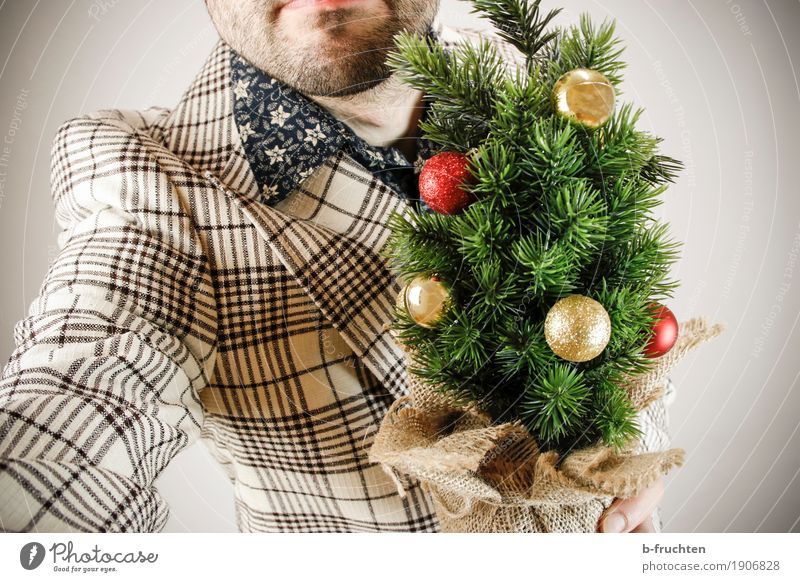 Santa Claus comes into the house Flat (apartment) Feasts & Celebrations Christmas & Advent Masculine Man Adults 30 - 45 years Bell Peephole Shirt Suit