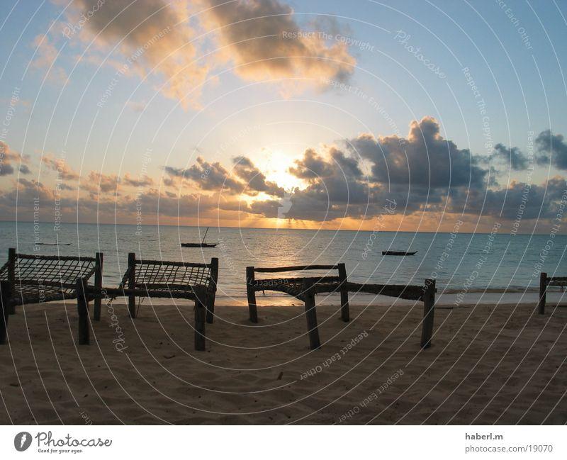 Sky Sun Ocean Beach Calm Clouds Life Sand Contentment Chair Tansania To enjoy Zanzibar