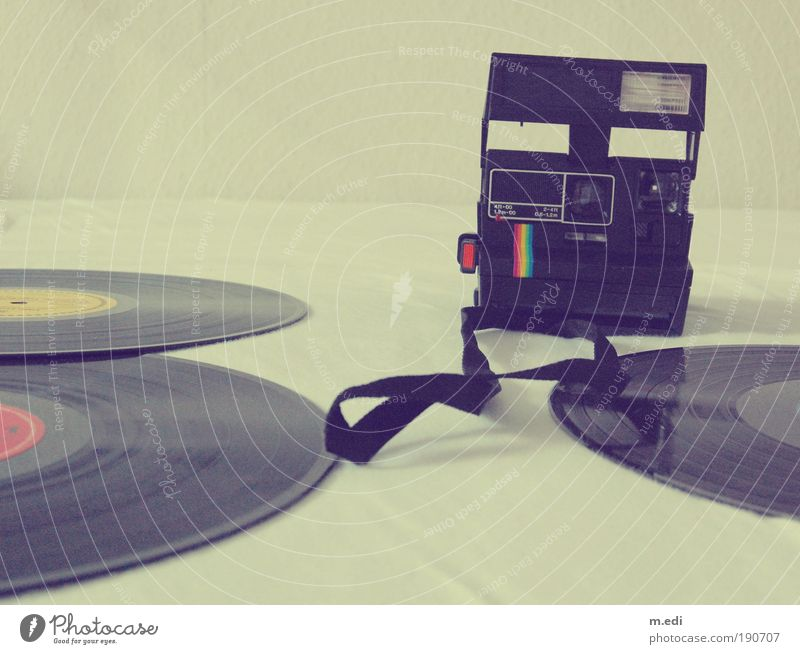 in those days Art Culture Subculture Music Record Lie Old Retro Style Colour photo Interior shot Polaroid Deserted