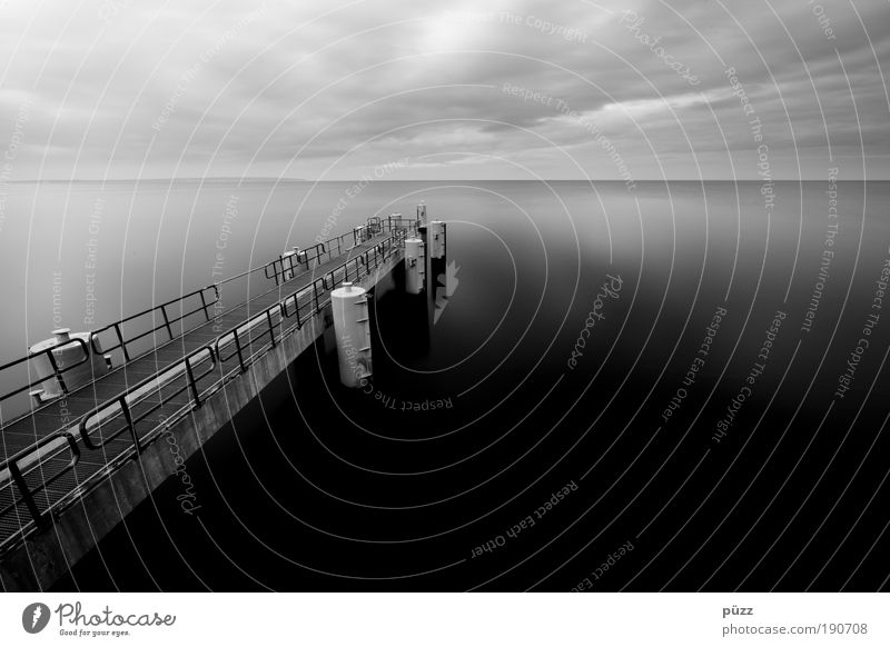 pier Landscape Water Sky Coast Baltic Sea Ocean Navigation Harbour Dark Gray Black Sellin Black & white photo Exterior shot Deserted Copy Space right