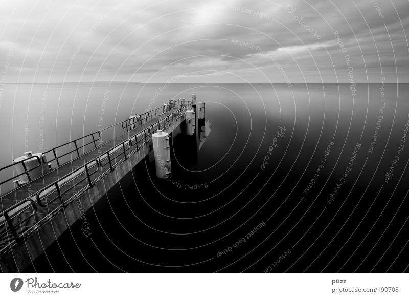 Water Sky Ocean Black Dark Gray Landscape Coast Harbour Navigation Baltic Sea Black & white photo Rügen Sellin