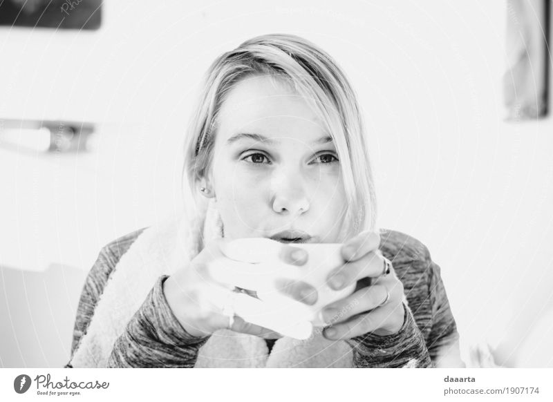 winter coffee Youth (Young adults) Young woman Joy Life Feminine Feasts & Celebrations Style Freedom Moody Leisure and hobbies Blonde Happiness Adventure