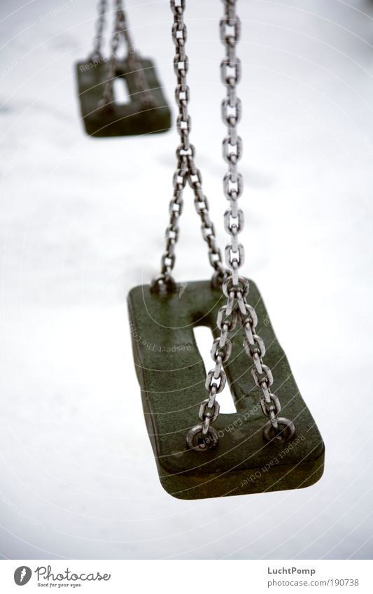 Winter Calm Loneliness Cold Playing Sadness Grief Gloomy Creepy Infancy Past Chain Swing Playground Memory