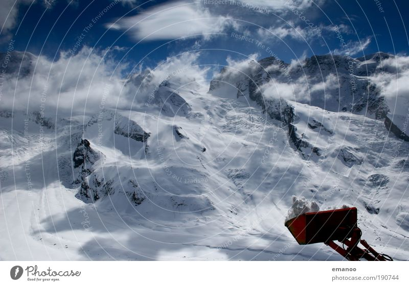 Sky Blue Beautiful Clouds Winter Mountain Snow Freedom Rock Ice Hiking Trip Climate Beautiful weather Peak Frost
