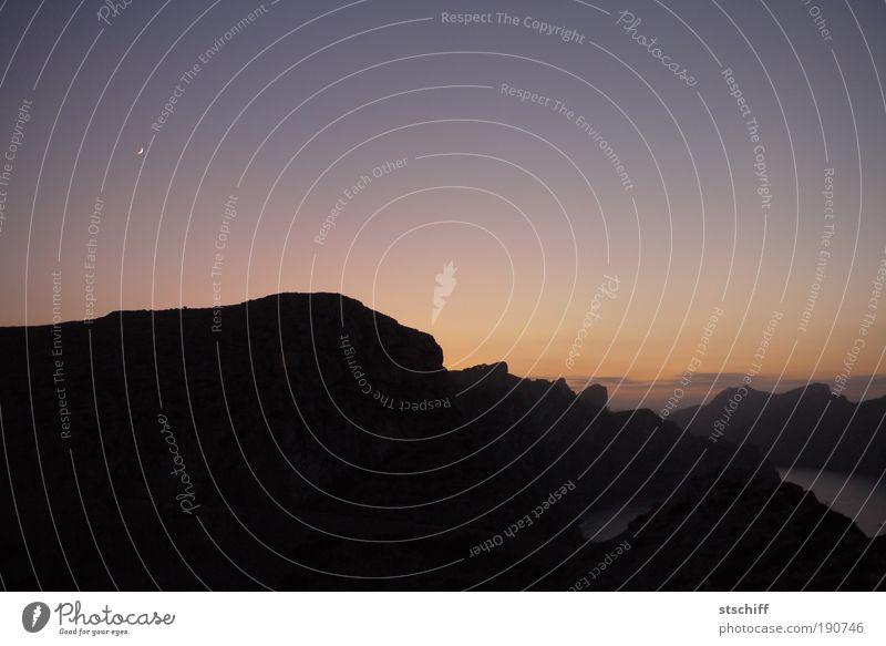 Sky Calm Loneliness Mountain Landscape Island Romance Night sky Moon To console