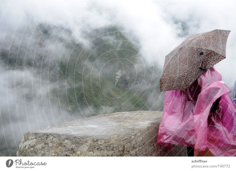 Rain at Machu Picchu 1 Human being Landscape Clouds Weather Bad weather Fog Virgin forest Umbrella Looking Wait Rain cape Protection Weather protection