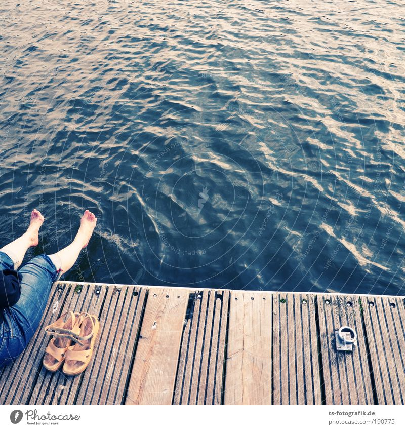 Human being Nature Water Vacation & Travel Summer Calm Adults Relaxation Warmth Wood Legs Feet Waves Contentment Colour River