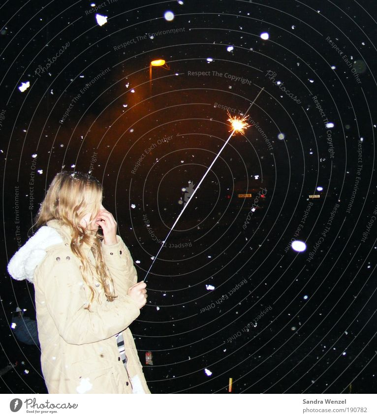 make a wish... Happy Night life New Year's Eve 1 Human being Night sky Winter Snowfall Coat Blonde Long-haired Curl Optimism Hope Belief Colour photo