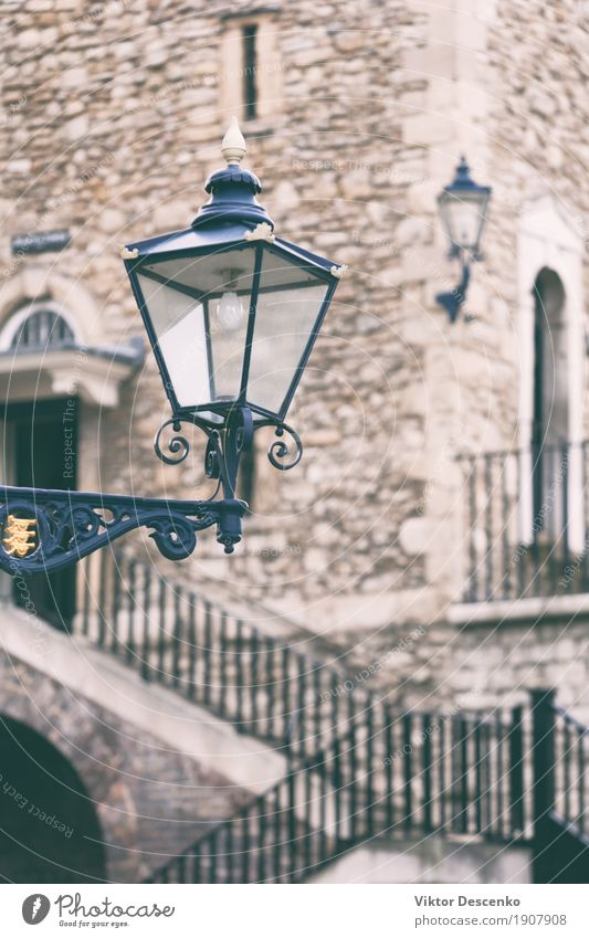 Vintage street lamp. Tower Style Design Vacation & Travel Tourism Lamp Town Palace Building Architecture Street Old Historic Blue England London post vintage