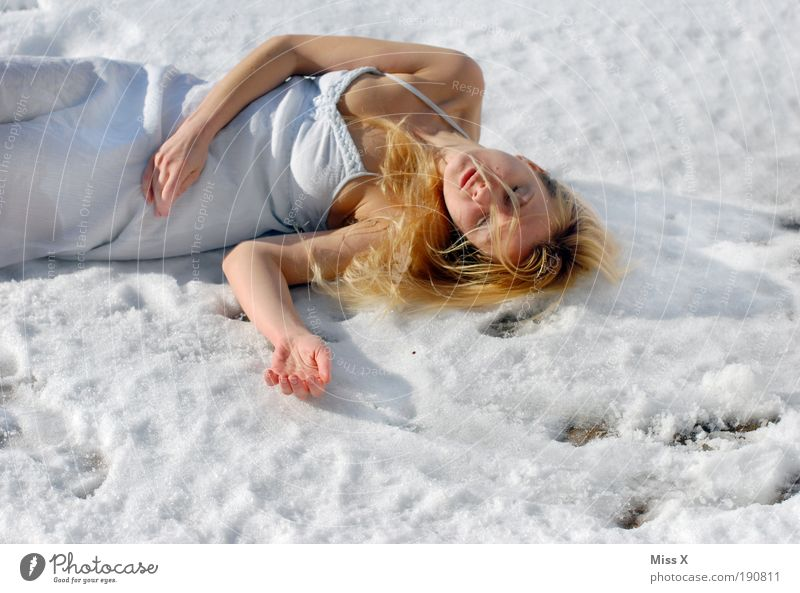 Human being Youth (Young adults) Beautiful Winter Adults Woman Death Cold Snow Sadness Ice Arm Skin Crazy Frost Grief