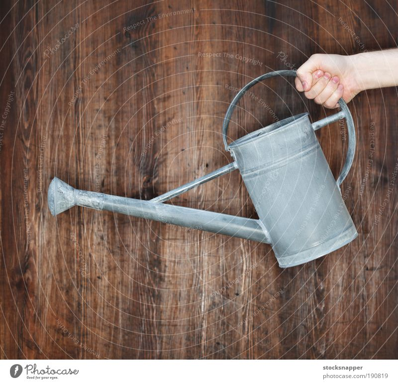 Watering can Hand holding holds Tin Metal Unrecognizable Gardening Object photography