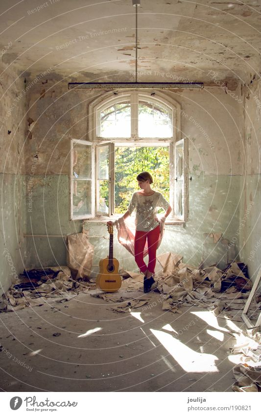 girl with guitar Old Youth (Young adults) Beautiful Red Artist Adults House (Residential Structure) Feminine Window Building Music Profession Woman Esthetic