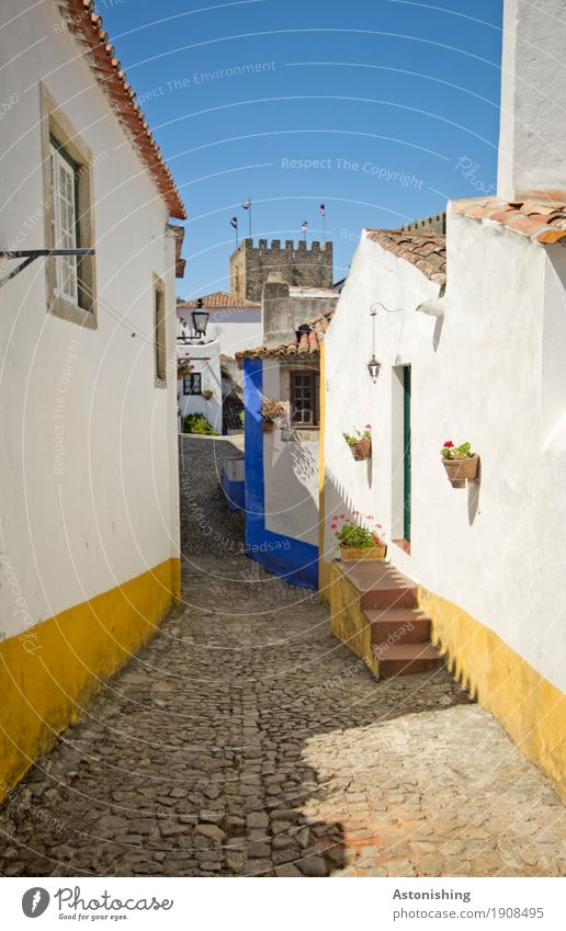 obidos Nature Sky Cloudless sky Plant Flower Obidos Portugal Small Town Old town House (Residential Structure) Tower Manmade structures Building Facade Window