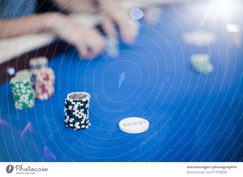 poker Poker Playing card Society Blue chips Token Bet Money Light Back-light Copy Space Blur Hand Fingers stakes flush high roller Success Lose Loser Evening