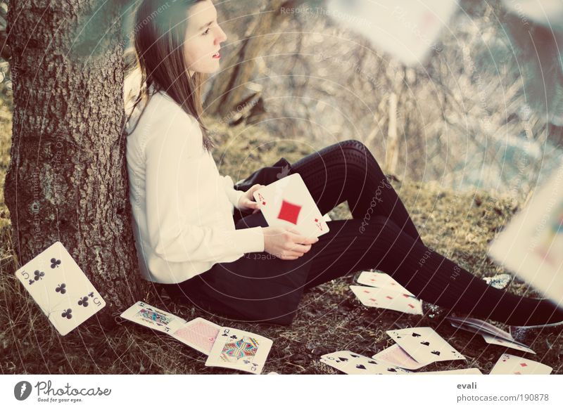 Adjourned game Game of cards Poker Human being Feminine Young woman Youth (Young adults) Woman Adults Hand 1 18 - 30 years Landscape Autumn Tree Grass Garden