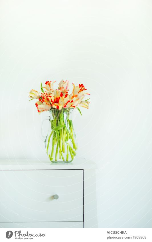 Vase with tulips on white table Lifestyle Style Design Living or residing Flat (apartment) Interior design Decoration Table Living room Valentine's Day