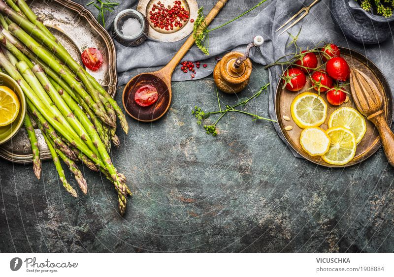 Tasty asparagus on an old kitchen table Food Vegetable Lettuce Salad Herbs and spices Cooking oil Nutrition Organic produce Vegetarian diet Diet Crockery Bowl