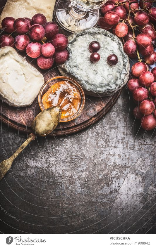 Fine cheeses with wine, grapes and honey sauce Food Cheese Fruit Dessert Nutrition Breakfast Banquet Organic produce Crockery Style Design Table Yellow Gourmet