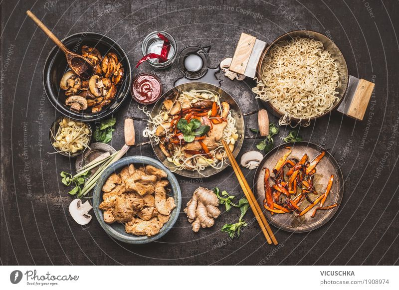 Wok with Asian fried noodles and ingredients Food Meat Vegetable Herbs and spices Nutrition Asian Food Crockery Pot Pan Lifestyle Style Design Healthy Eating