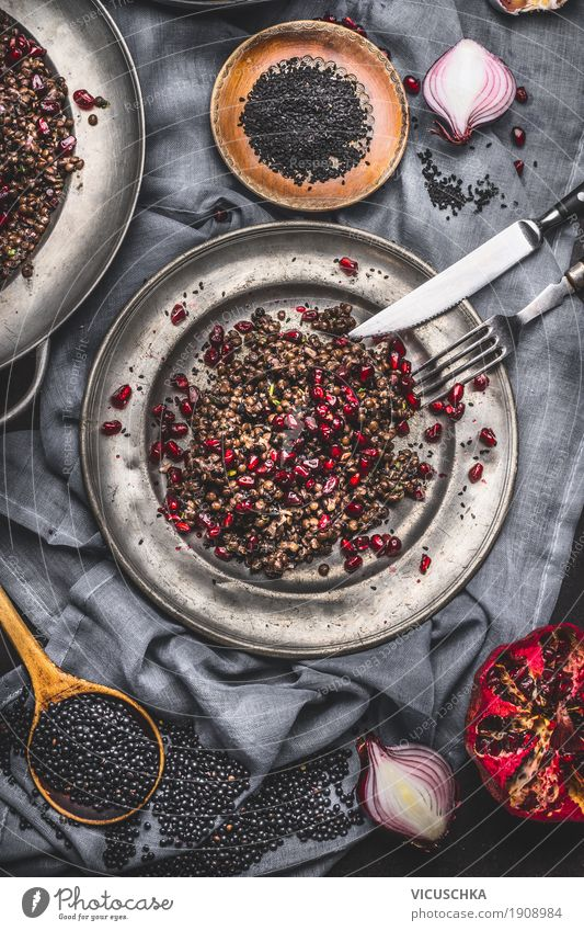 Healthy Black Beluga lentil salad with pomegranate Fruit Grain Herbs and spices Cooking oil Nutrition Lunch Buffet Brunch Organic produce Vegetarian diet Diet