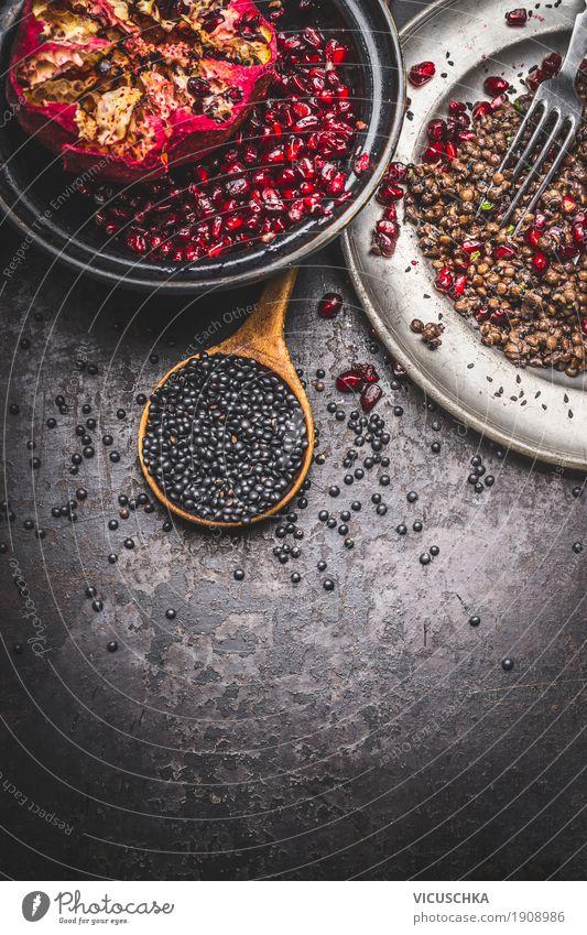 Black Beluga lentil salad with pomegranate Food Lettuce Salad Fruit Grain Nutrition Organic produce Vegetarian diet Diet Bowl Spoon Healthy Healthy Eating Life
