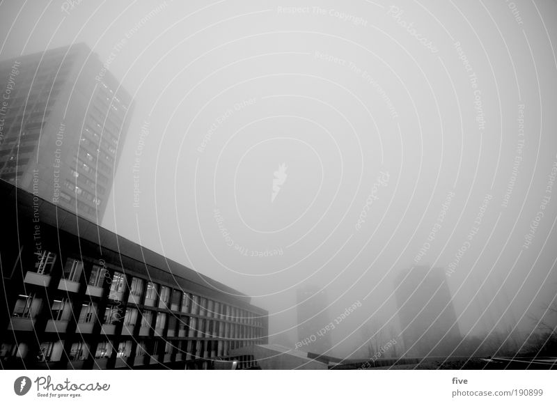 swallowed up by the fog. Bad weather Fog Town House (Residential Structure) High-rise Building Wall (barrier) Wall (building) Facade Balcony Dark Sharp-edged