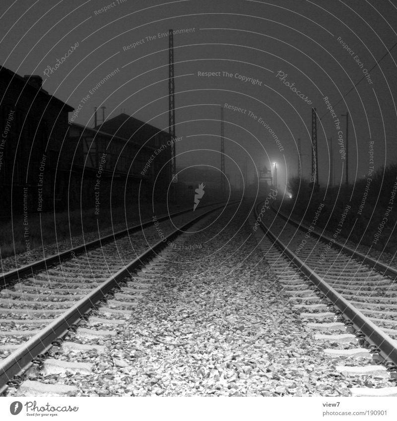 Black Loneliness Cold Sadness Metal Elegant Horizon Transport Railroad Hope Esthetic Logistics Black & white photo Authentic Simple Longing