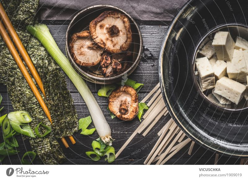 Cooking Ingredients for Asian Miso Soup Food Vegetable Herbs and spices Cooking oil Nutrition Lunch Banquet Organic produce Vegetarian diet Diet Crockery Bowl