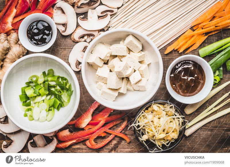 Asian cuisine. Ingredients for Stir Fry with tofu and noodles Food Vegetable Soup Stew Herbs and spices Cooking oil Nutrition Lunch Dinner Buffet Brunch