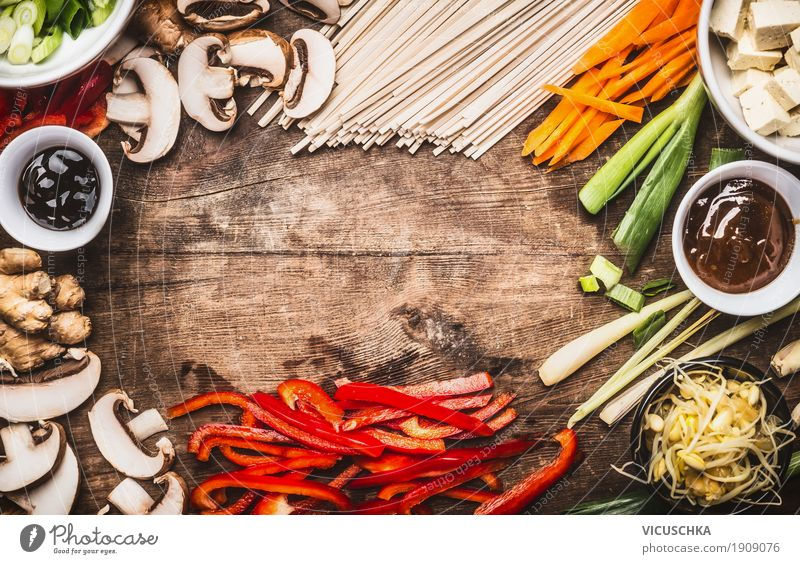 Asian cuisine with vegetarian ingredients Food Vegetable Herbs and spices Cooking oil Nutrition Lunch Dinner Banquet Organic produce Vegetarian diet Diet