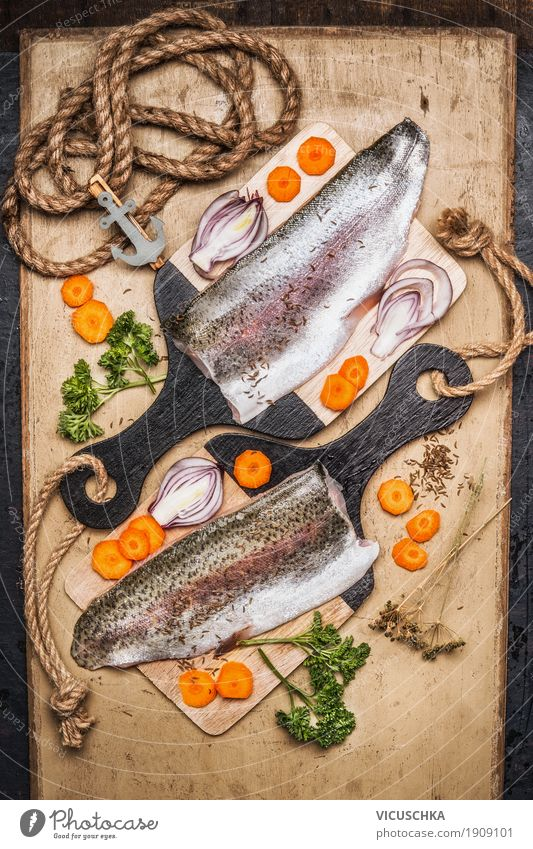 Trout fillet on cutting board with vegetables Food Fish Vegetable Herbs and spices Nutrition Lunch Dinner Organic produce Vegetarian diet Diet Style Design