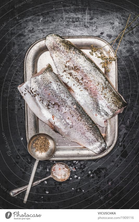 Trout fish fillet with fennel seeds and salt Food Fish Herbs and spices Nutrition Dinner Organic produce Vegetarian diet Diet Crockery Spoon Style Design
