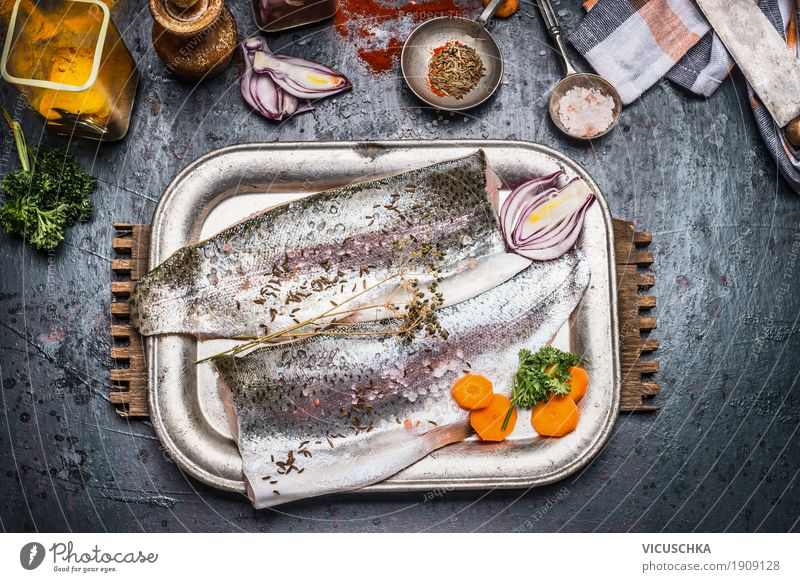 Healthy Eating Dark Food photograph Eating Life Healthy Style Food Design Nutrition Table Fish Herbs and spices Kitchen Vegetable Organic produce