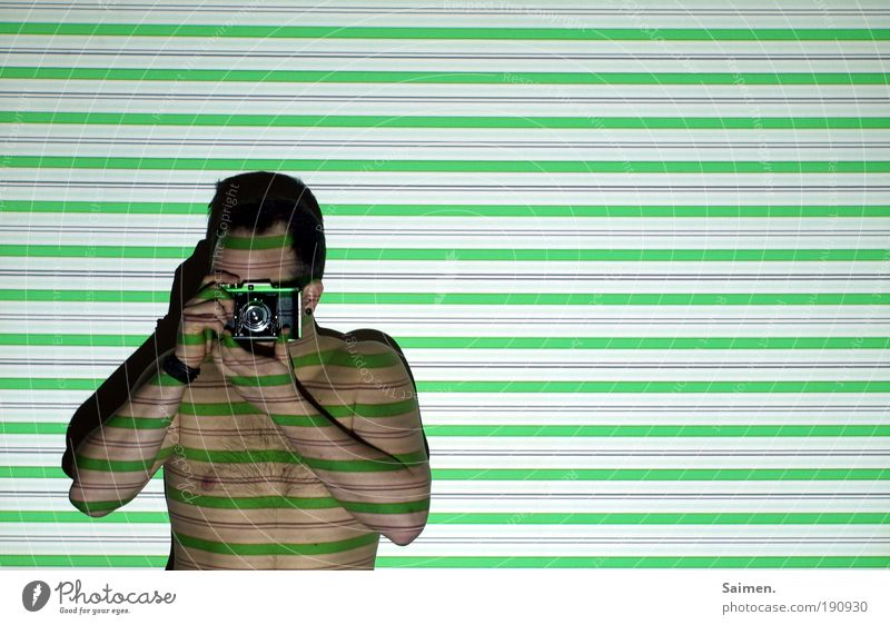 Human being Man Green Joy Adults Naked Line Contentment Body Stripe Uniqueness Camera Longing Creativity Analog Trashy