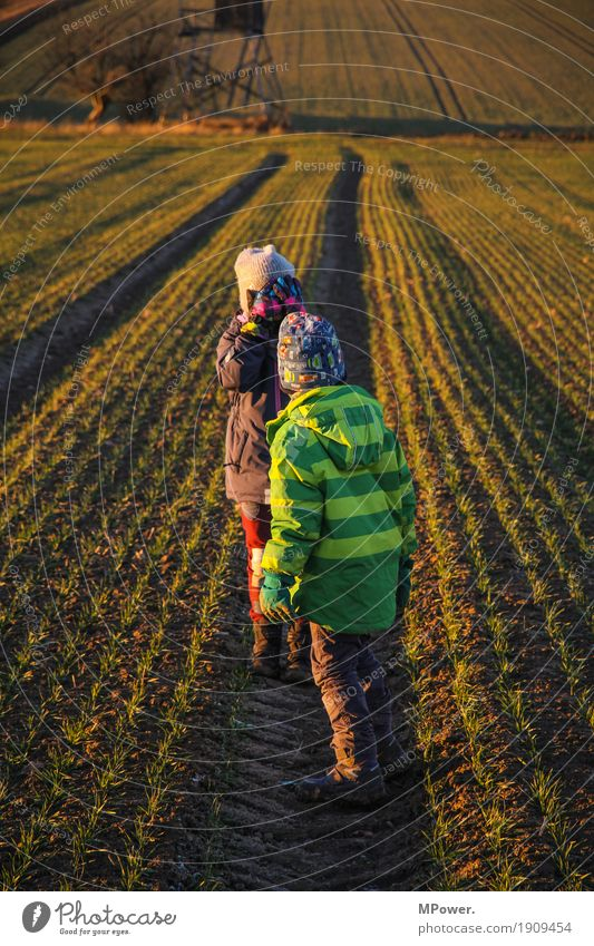 Human being Child Nature Plant Landscape Girl Environment Autumn Funny Boy (child) Family & Relations Playing Field Hiking Infancy Brothers and sisters