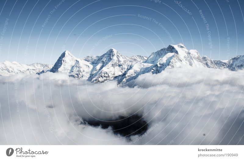 mountain gorge Nature Landscape Sky Winter Climate Snow Rock Alps Mountain Peak Snowcapped peak Cold Unwavering Eiger Monk (mountain) Jungfrau Piz Gloria