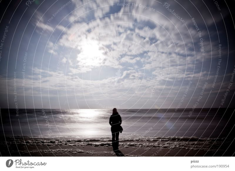 longing Human being 1 Nature Landscape Sky Clouds Sun Sunlight Coast Beach North Sea Looking Stand Dream Sadness Wait Emotions Calm Grief Longing Wanderlust