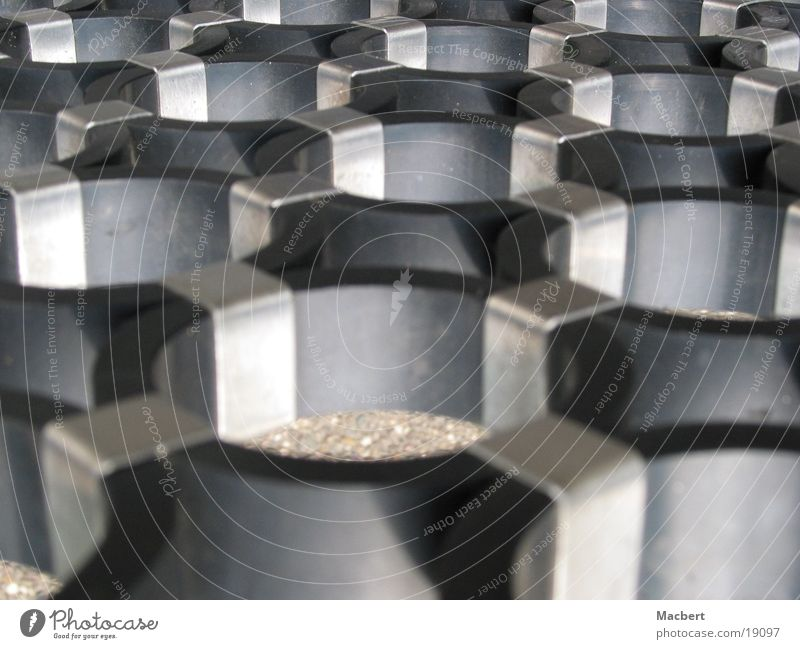 Black Rings Industry Circle Connection Silver Metal