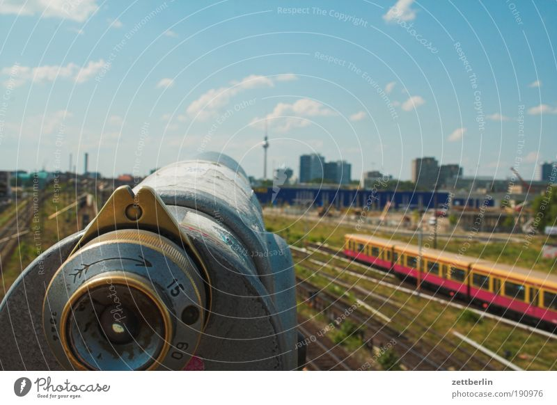 Sky City Summer Far-off places Berlin Transport Railroad Perspective Logistics Vantage point Railroad tracks Skyline Train station Aim Passenger traffic Berlin TV Tower