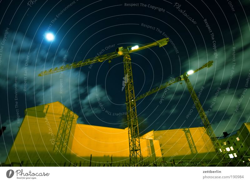House (Residential Structure) Clouds Berlin Wall (barrier) Facade Construction site Work and employment Skyline Moon Crane Gap Shift work Full  moon Fire wall
