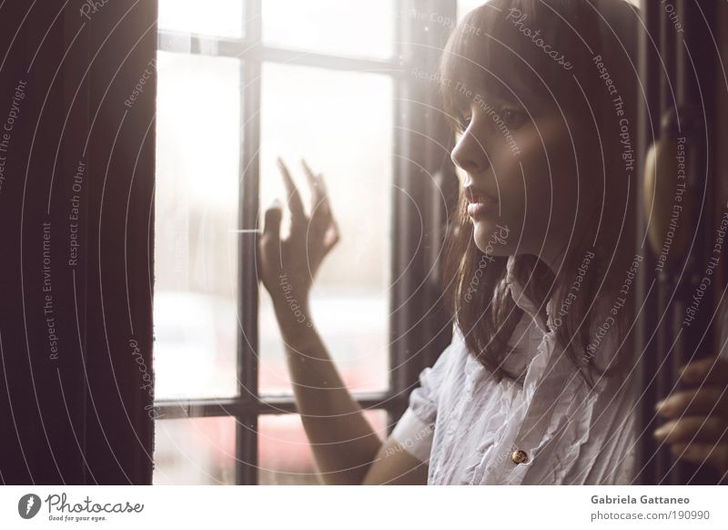 Youth (Young adults) Old Calm Face Loneliness Far-off places Human being Feminine Woman Window Emotions Wood Hair and hairstyles Moody Esthetic Light